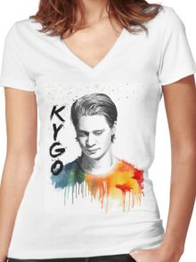 Colorful fanmade portrait of Kygo Women's Fitted V-Neck T-Shirt