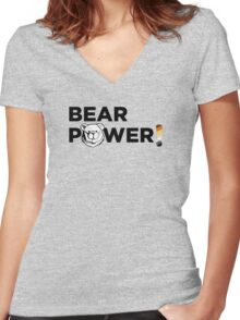 ROBUST BEAR POWER UK USA ENGLISH Women's Fitted V-Neck T-Shirt