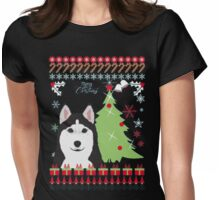 Christmas Ugly Sweatshirt HUSKY UGLY Womens Fitted T-Shirt