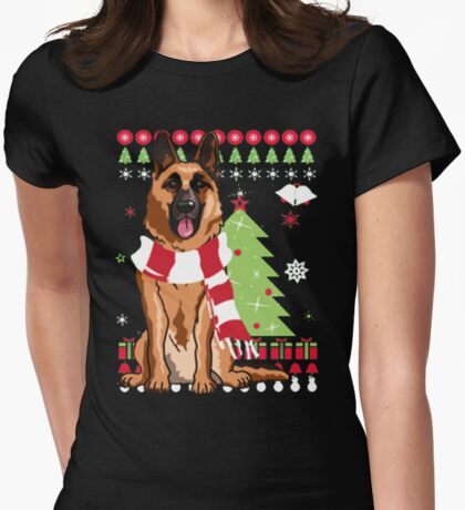 Christmas Ugly Sweater-GERMAN SHEPHERD Womens Fitted T-Shirt