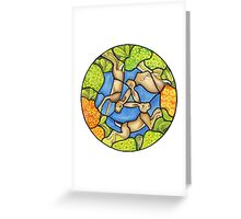 three hares (stained glass) Greeting Card