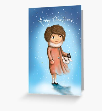 A Girl and Her Snow Puppy Greeting Card