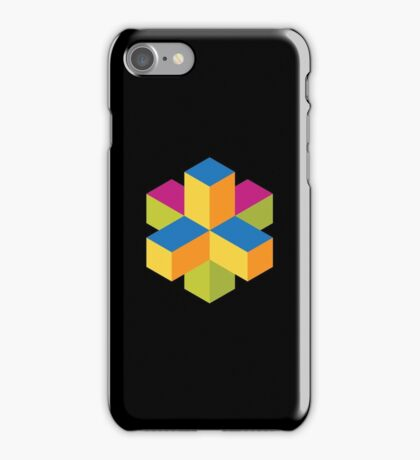 Isometric abstract color cubes iPhone Case/Skin