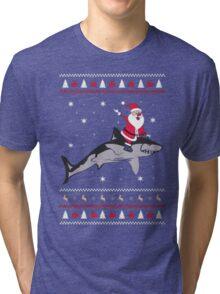 Shark Ugly Christmas Sweatshirt Tri-blend T-Shirt