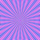 Hypnotic Star Ripples in Pink and Blue by Objowl