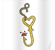 cartoon love heart fish hook Poster