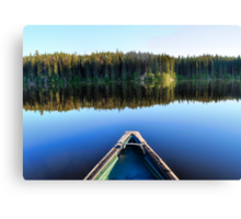 Canoeing on Lonely Lake Canvas Print