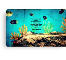 LOVE Is The Answer Inspiring Quote With Ocean Fish Painting  Canvas Print