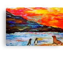 LOVE Yourself First Inspirational Quote With Penguins Painting  Canvas Print