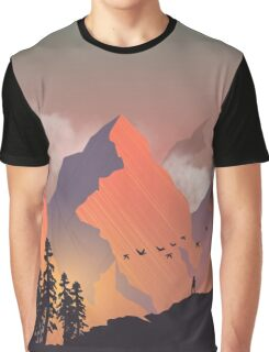 Cool Outdoors Nature Landscape Graphic : Forest and Hiking Mountain with Birds Graphic T-Shirt