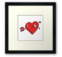 cartoon arrow through heart cartoon Framed Print