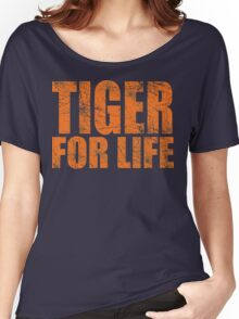 Tiger for Life -Navy and Orange Women's Relaxed Fit T-Shirt