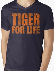 Tiger for Life -Navy and Orange Mens V-Neck T-Shirt