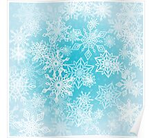 Chaotic Christmas Snowflakes on Blue Background Poster