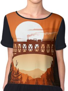 Retro Nature Graphic Illustration : Train Mountain with Oldschool Landscape Chiffon Top