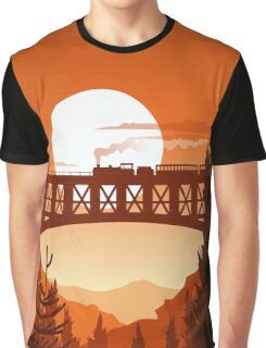 Retro Nature Graphic Illustration : Train Mountain with Oldschool Landscape Graphic T-Shirt