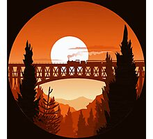Retro Nature Graphic Illustration : Train Mountain with Oldschool Landscape Photographic Print
