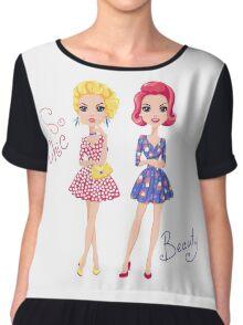 Pop Art cute fashion girls Chiffon Top