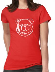Robust Bear Logo White Womens Fitted T-Shirt