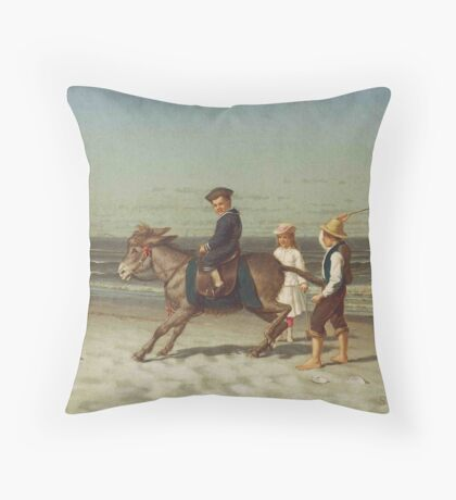 Children and Donkey, Samuel S. Carr  Throw Pillow