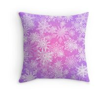 Chaotic Snowflakes on Lilac Background Throw Pillow