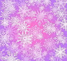 Chaotic Snowflakes on Lilac Background by amovitania
