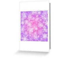 Chaotic Snowflakes on Lilac Background Greeting Card