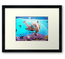 Motivational Giving Out Love Quote With Sea Lions Painting  Framed Print