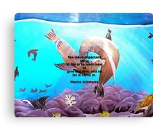 Motivational Giving Out Love Quote With Sea Lions Painting  Canvas Print