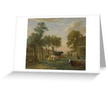 Cows in a Meadow near a Farm, Paulus Potter Greeting Card