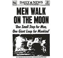 Moon Landing Front Page 1969 Photographic Print