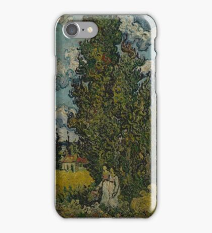 Cypresses and Two Women Saint-Rémy-de-Provence, February Vincent van Gogh  iPhone Case/Skin