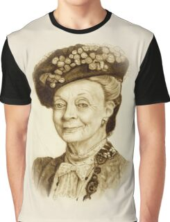 Downton Abbey, Maggie Smith Pencil Portrait, Sepia, Dowager Countess Graphic T-Shirt