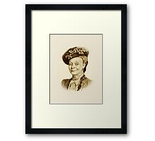 Downton Abbey, Maggie Smith Pencil Portrait, Sepia, Dowager Countess Framed Print