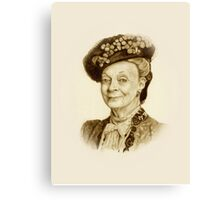 Downton Abbey, Maggie Smith Pencil Portrait, Sepia, Dowager Countess Canvas Print