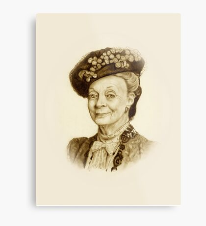 Downton Abbey, Maggie Smith Pencil Portrait, Sepia, Dowager Countess Metal Print