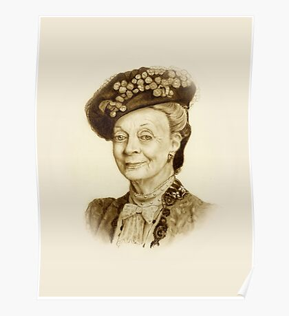 Downton Abbey, Maggie Smith Pencil Portrait, Sepia, Dowager Countess Poster