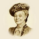 Downton Abbey, Maggie Smith Pencil Portrait, Sepia, Dowager Countess by Joyce Geleynse