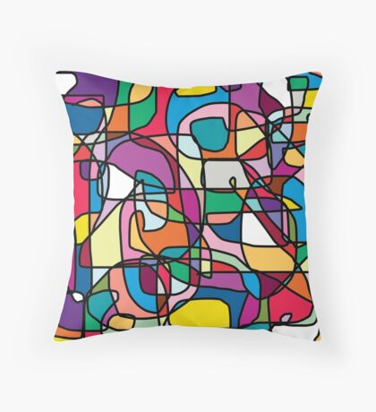 Abstract Colours Doodle Throw Pillow