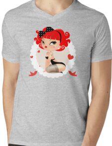 Pin up girl-retro style Mens V-Neck T-Shirt