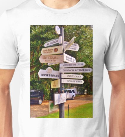 Bluffton SC Directions Unisex T-Shirt
