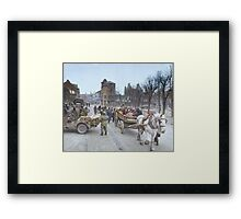 Refugees evacuating the Belgian town of Bastogne, 1944, colorized Framed Print