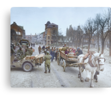 Refugees evacuating the Belgian town of Bastogne, 1944, colorized Metal Print