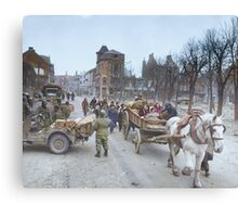 Refugees evacuating the Belgian town of Bastogne, 1944, colorized Canvas Print