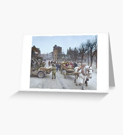 Refugees evacuating the Belgian town of Bastogne, 1944, colorized Greeting Card