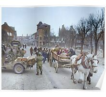 Refugees evacuating the Belgian town of Bastogne, 1944, colorized Poster