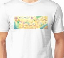 Illustrated map of New Orleans, Louisiana, USA Unisex T-Shirt
