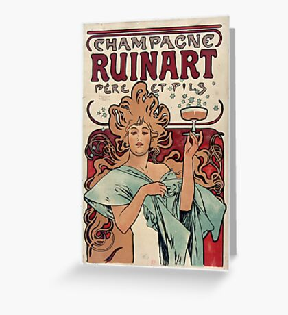 Vintage Alfons Mucha Champagne Ruinart Greeting Card