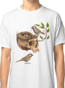 colorful illustration of birds making a nest in animal skull Classic T-Shirt
