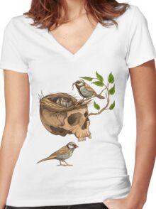 colorful illustration of birds making a nest in animal skull Women's Fitted V-Neck T-Shirt